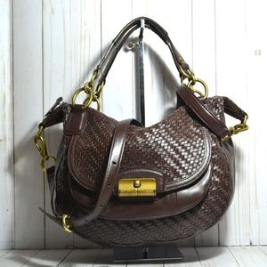 Coach Kristin Woven Leather Round Satchel Brown